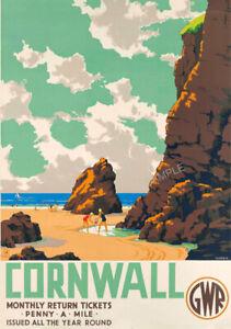 VINTAGE RAILWAY POSTER CORNWALL 1930s Beach GWR Rail Travel ART Deco PRINT A3 A4