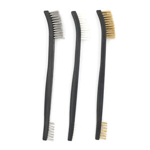 3pcs Mini Stainless Steel Brass Nylon Wire Brush Set Cleaning Polish Tool_shFCA