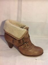 Sacha Brown Ankle Leather Boots Size 40