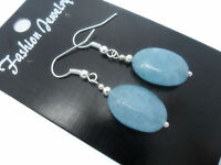 Natural Blue Chalcedony Oval Gemstone 925 Sterling Silver Hook Dangle Earrings