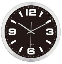 Funk Wanduhr DCF Funkuhr Analog Uhr Ø 30cm Alu Rahmen Schwarz 400342