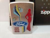 "Vintage Zippo  ""FORD"" Lighter  / One Wild Ride /  2010 Satin Chrome Original Box"