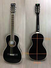 Caraya 590 Parlor Acoustic Guitar Built-in EQ,Black w/Free gig bag,Spare strings