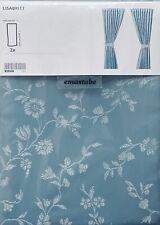2 Packungen (4 Schals) IKEA Lisabritt Gardinen blau 145 X 300 Cm mit Raffhalter