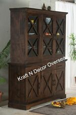 KraftNDecor Wooden Kitchen Cabinet/Hutch/Display in Brown Colour