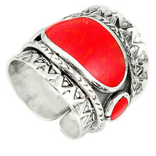 Earth Mined Red Coral Enamel 925silver Adjustable Ring Jewelry Size 6.5 C22343