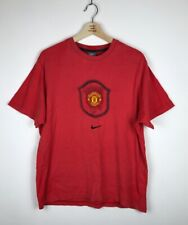 Manchester United Nike Centre Logo T-Shirt Swoosh Vintage Red Large Top Jersey
