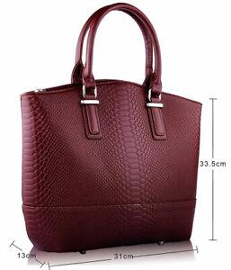 Ladies Handbag Work Bag Women Designer Brown Retro Snakeskin Tote Handbag 00104