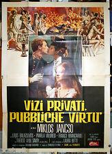 manifesto 4F film VIZI PRIVATI PUBBLICHE VIRTU' Miklós Jancsó 1975 Simeoni art