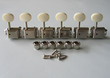 6 Inline Strat/Tele Nickel w/ Aged White Vintage Guitar Tuners Tuning Keys Pegs