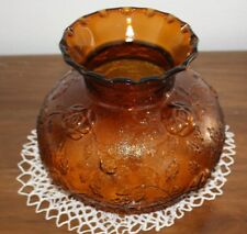 Vintage Amber Glass Floral Lamp Shade