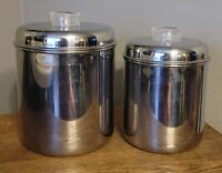 Vintage 2pc Revere Ware 1801 Canister Stainless Steel Tel-U-Top Lid 9 1/2  8 1/2