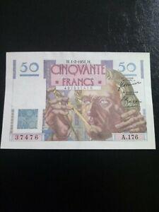 Billet de banque de France 50f Le verrier 1951tb