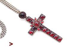 Antique Bohemian Garnet Cross Crucifix Garnets solid Gilt Silver/9.9gr