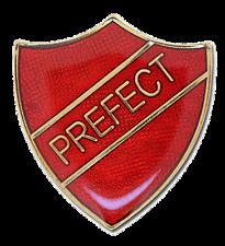 Shield Shape Old School Red ' PREFECT ' Enamelled Badge / Brooch - BNIB