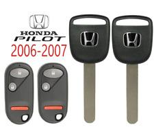 2 Honda Pilot 2006 2007 Ho03 Transponder Chip Key + Remote NHVWB1U523 USA A+++