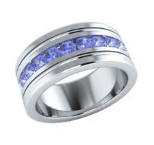 0.50 Ct Round-Cut Blue Sapphire Men's Wedding Band Ring In 14k White Gold Over