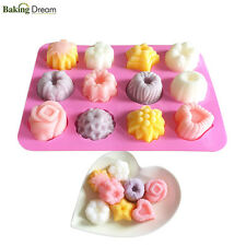 12 Flower Cavity Flexible Silicon Soap Molds Candle Making Molds Candy Chocolate