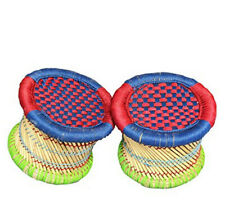 Long Life Handmade Eco-Friendly Red Blue Foot Stool for Meditation Use Set of 2