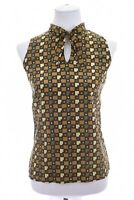 Jones New York Womens 100% Silk Cami Top Blouse Tie Neck 70s Print Sz 12 Large