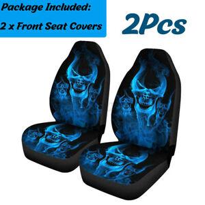 2X Universal Van Car Seat Cover Front Seat Protector Waterproof Blue Skull  #+