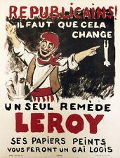 PAPIERS PEINTS LEROY Affiche originale entoilée Pierre ROUSSEAU année 30 49x63cm