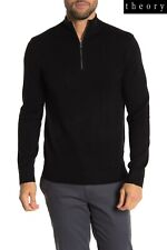 THEORY DONNNERS MK 100% CASHMERE 3 HALF ZIP BLACK SWEATER. NWT $395. XL
