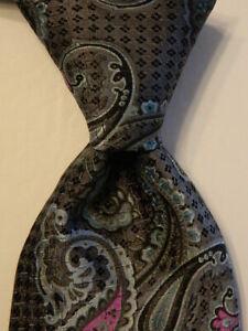 ROBERT TALBOTT Carmel Mens 100% Silk Necktie Luxury PAISLEY Gray/Blue/Purple EUC