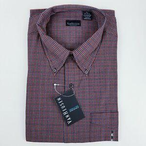 Van Heusen Wrinkle Free Stain Shield XL 17-17 1/2 Red Plaid Mens Button Shirt