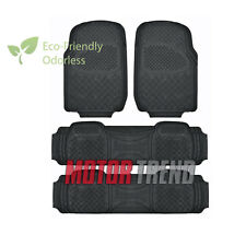 MOTOR TREND Odorless All Weather Black Non-slip Trim-to-Fit Car Floor Mat 4 PC