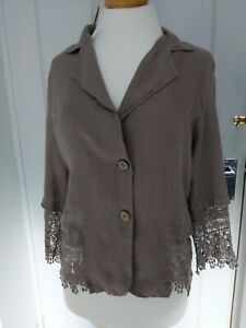 Made in Italy Linen and Lace Lagenlook Jacket Size 16 Great Condition taupe