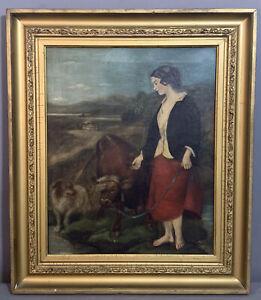 Antique PRIMITIVE Farm LADY Cow DOG Outdoor LANDSCAPE Old FOLK ART Oil PAINTING