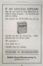 1917 Buffalo Dental Manufacturing Company Puscure Box Art Vintage Print Ad