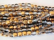 50  4 x 4 mm Czech Glass Cube Beads: Crystal/Gold