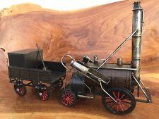 STEAM ENGINE WITH TRAILER  MODEL  RETRO METAL  GARAGE