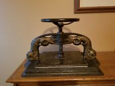 Ornate Antique 19th C Cast Iron Classical Dolphin Bookbinders Book Binders Press