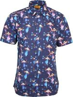 Run & Fly Mens UFO Outer Space Print Short Sleeved Shirt Retro Kitsch 50s 60s