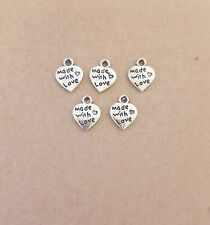 20 x Made With Love Heart Charm for Jewelry Making,Arts Craft Bracelet/Pendant