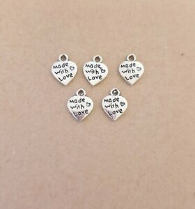 60 x Made With Love Heart Charm for Jewelry Making,Arts Craft Bracelet/Pendant