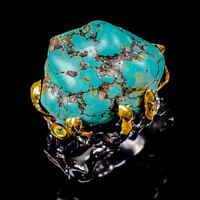 Turquoise Ring Silver 925 Sterling Handmade Size 9 /R129445