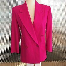 Vintage Premiere Bright Pink Women's Double Breasted Blazer Wool XXS 1980's