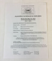 UNDER THE DOME original paperwork ~ FILMING NOTICE/PERMIT