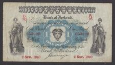 IRELAND,  BANK OF,  # K 14,  2 SEP. 1940,  ONE POUND,  FINE-VERY FINE+