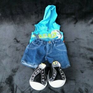 Build a Bear Surf Hooded Tank Top, Denim Shorts and High Top Shoes