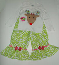 Toddler Girls Christmas Shirt and Ruffle Pants Outfit Size 3T New
