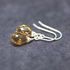 Natural Citrine Earrings Sterling Silver 925 Sparkle Hooks , November Birthstone