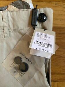 New Burberry Boys Stretch Chino Beige Khaki Pants Size 10