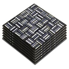Set of 6 Silver Black Blue Glitter Finish Mosaic Glass Coasters Squares Stripe