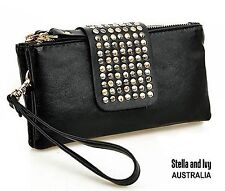 BLACK STUDDED PURSE WALLET AU WOMENS NEW