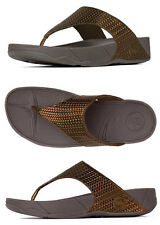 FitFlop Sandal Thong Lulu Leather Weave Bronze Sz 7 NEW